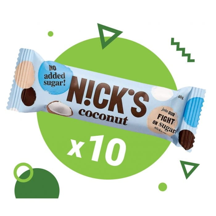 Набор 10 х кокосовый батончик Nick's coconut, 40 г