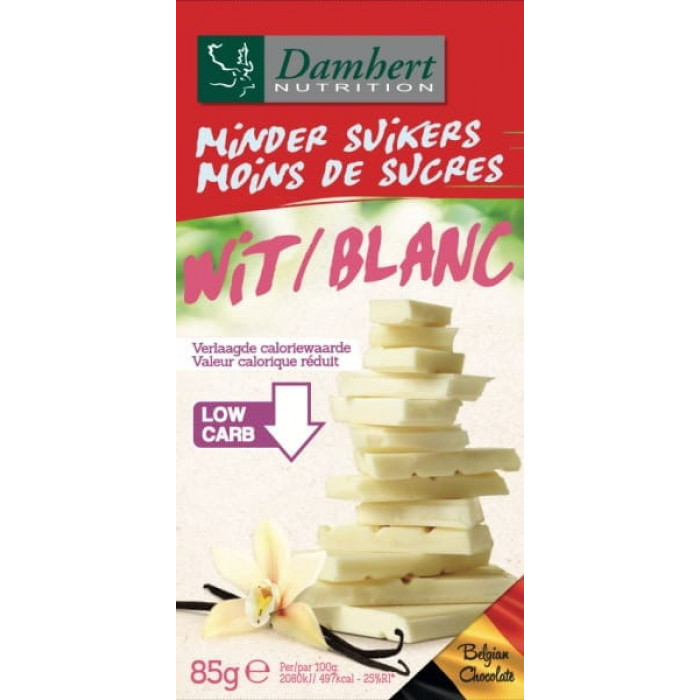 Damhert Less Sugars Chocolate tablet white, 85 g
