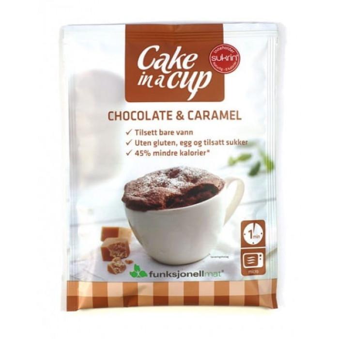 Šokolado ir karamelės tortas puodelyje Sukrin Saldumynai: baltymų batonėliai, šokoladai, drops